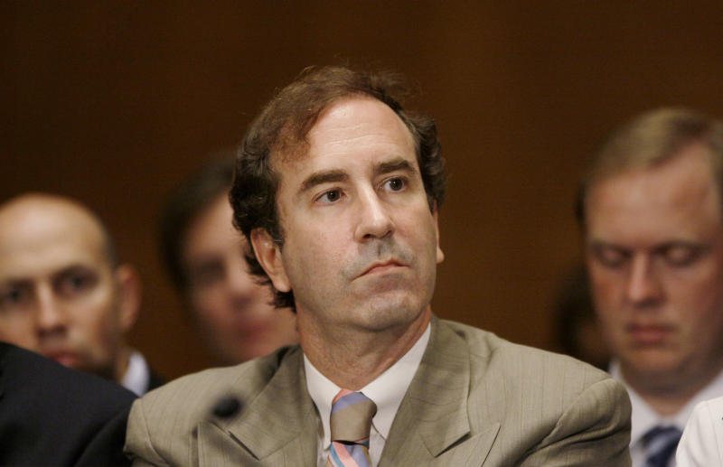 Harry Markopolos, a fraud investigator and former securities industry official, listens to testimony from David Kotz, the Securities and Exchange Commission (SEC) inspector general, not pictured, Thursday, Sept. 10, 2009, during a Senate Banking Committee hearing regarding Bernard Madoff. (AP Photo/Haraz N. Ghanbari)
