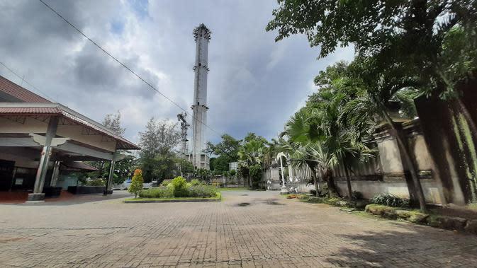 Penampakan menara Masjid Sriwedari di eks Taman Sriwedari Solo.(Liputan6.com/Fajar Abrori)