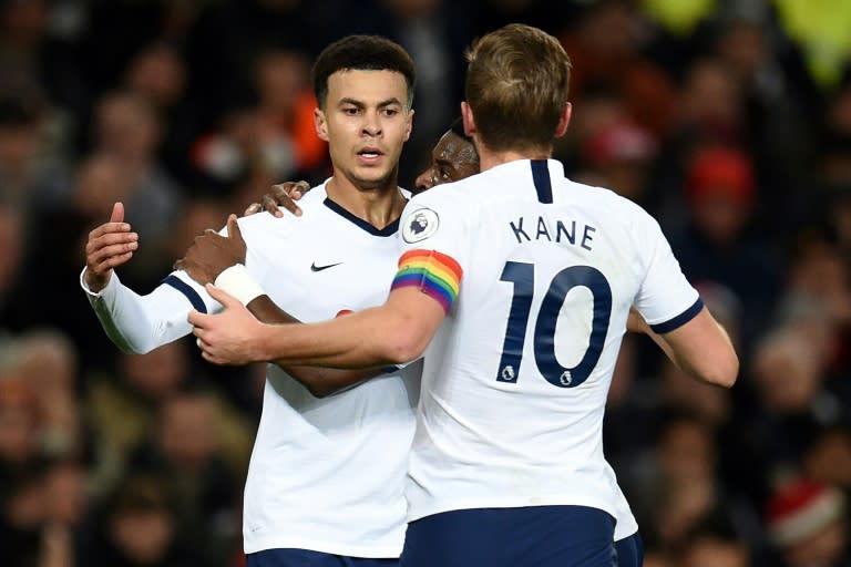 Dele Alli (left) celebrates his equaliser against Manchester United at Old Trafford