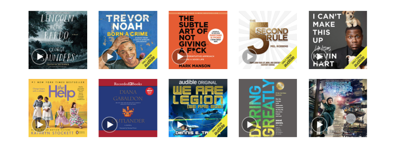 Audible offers the largest library of audio books. Image via Amazon.