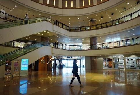 The Harbour City shopping centre standing mostly empty on 18 August 2020 in Tsim Sha Tsui amid the third wave of coronavirus infections. Photo: Sam Tsang