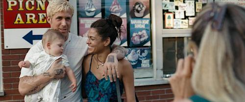 "This film image released by Focus Features shows Ryan Gosling and Eva Mendes in ""The Place Beyond the Pines."" (AP Photo/Focus Features)"