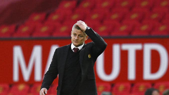 Manajer Manchester United, Ole Gunnar Solskjaer. (Oli Scarff/Pool via AP)