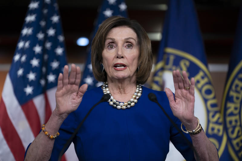 Speaker of the House Nancy Pelosi, D-Calif., holds a news conference the morning after the impeachment of President Donald Trump ended in acquittal, at the Capitol in Washington, Thursday, Feb. 6, 2020. (AP Photo/J. Scott Applewhite)