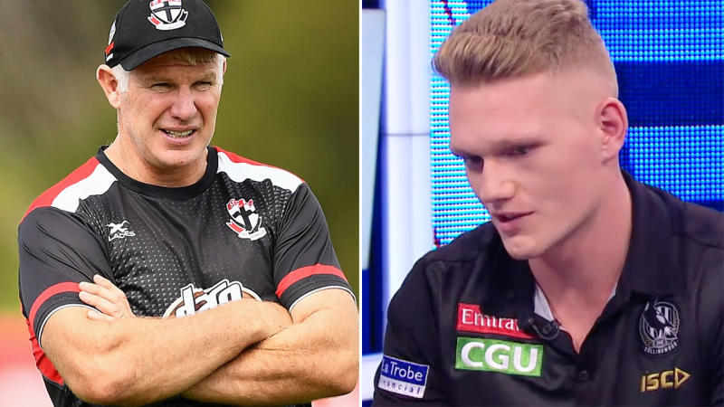 Danny Frawley and Adam Treloar, pictured here in 2018 and 2019.