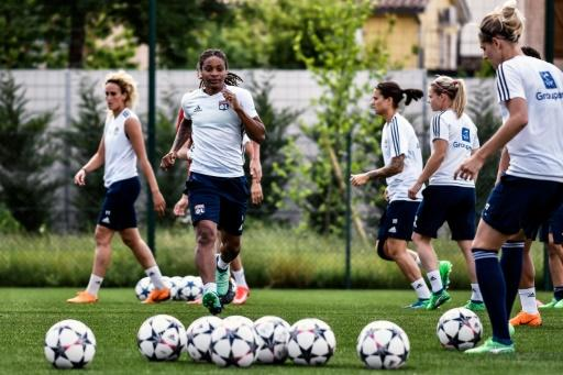 Lyon players train ahead of the Champions League final against Wolfsburg