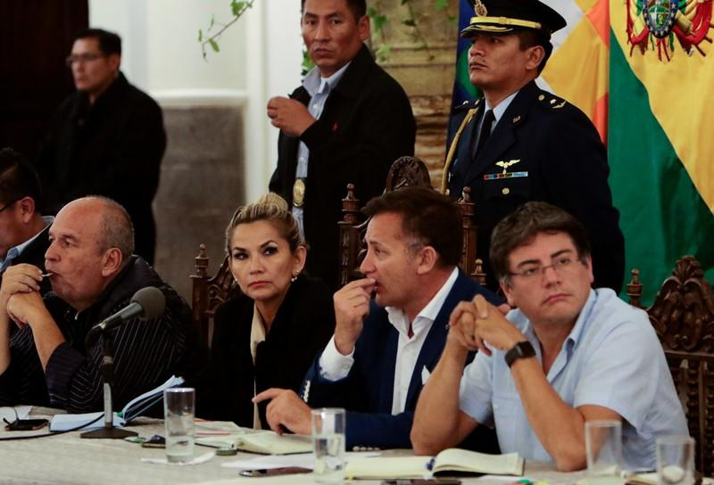 Bolivia's government authorities meet with social organizations at the presidential palace in La Paz