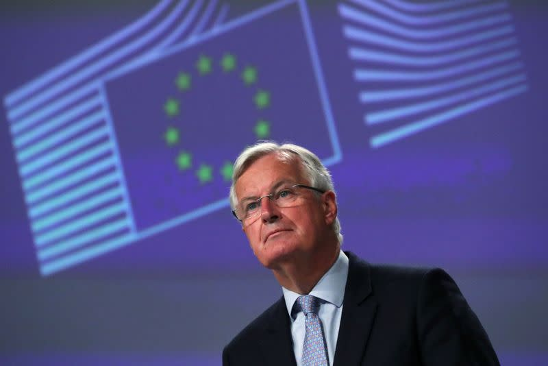 EU's Brexit negotiator Michel Barnier gives a news conference after Brexit negotiations, in Brussels