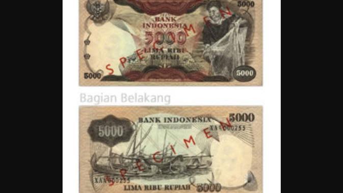 3. Rp 5.000/Tahun Emisi 1975 (bergambar nelayan dan kapal). (Foto: BI)