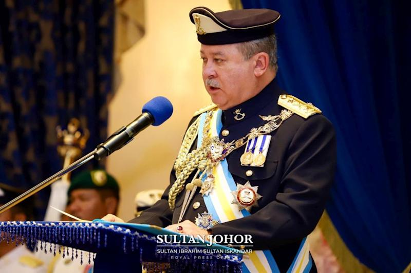 Sultan Ibrahim said he was disappointed with the continued politicking in the state. — Picture courtesy of the Johor Royal Press Office