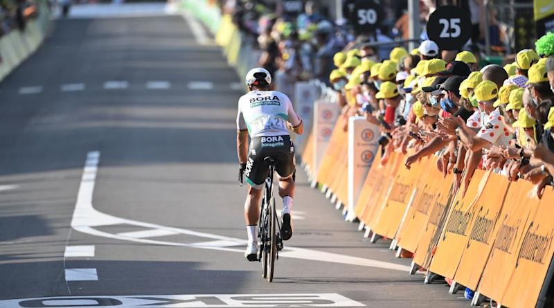 Team Bora rider Slovakias Peter Sagan leaves the finish line area after the 19th stage of the 107th edition of the Tour de France cycling race 160 km between BourgenBresse and Champagnole on September 18 2020 Photo by Marco BERTORELLO POOL AFP Photo by MARCO BERTORELLOPOOLAFP via Getty Images