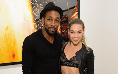 Stephen 'tWitch' Boss and Allison Holker attend Tyler Shields debut of MOUTHFUL presented by A/X Armani Exchange in support of LOVE IS LOUDER at a privates Studio in Los Angeles on May 19, 2012 -- Getty Images