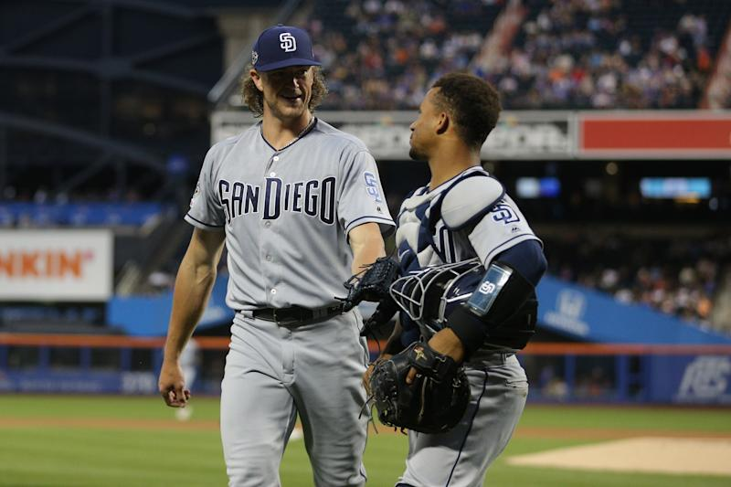 Jul 23, 2019; New York City, NY, USA; San Diego Padres starting pitcher Chris Paddack (59) talks to San Diego Padres catcher Francisco Mejia (27) after the end of the third inning against the New York Mets at Citi Field. Mandatory Credit: Brad Penner-USA TODAY Sports
