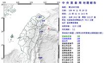 21:42 東部海域規模5.1地震 宜蘭3級、台北市2級