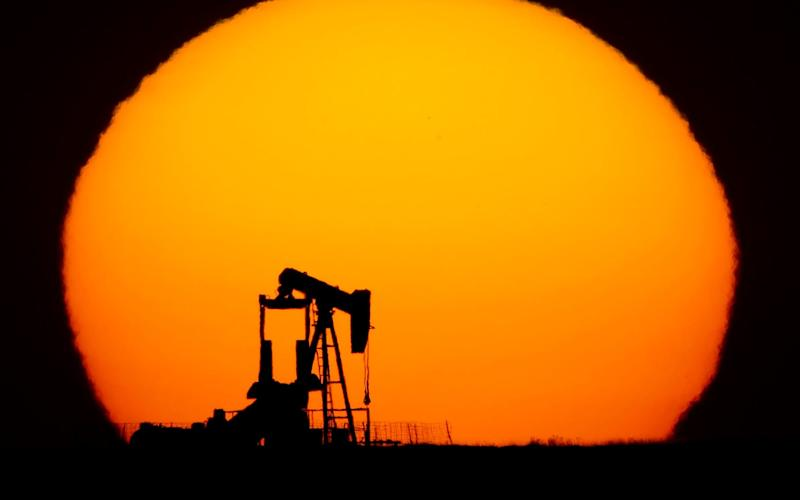 An oil pumping unit in Oakley, Kansas