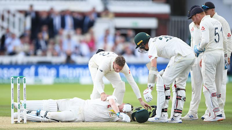 Steve Smith was felled after a vicious Jofra Archer bouncer.