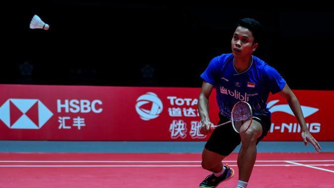 Anthony Sinisuka Ginting di BWF World Tour Finals 2019, Kamis (12/12/2019). (PBSI)