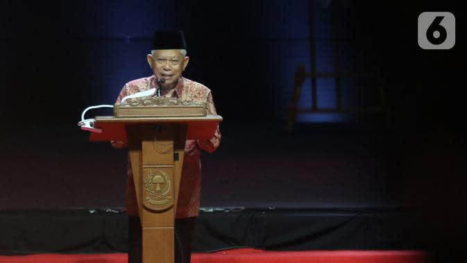 Wapres Ma'ruf Amin memberikan pidato sekaligus menutup Rakornas Indonesia Maju antara Pemerintah Pusat dan Forum Koordinasi Pimpinan Daerah di Bogor, Jawa Barat, Rabu (13/11/2019). Kegiatan tersebut untuk mensinergikan program-program pemerintah pusat dengan daerah. (Liputan6.com/Herman Zakharia)