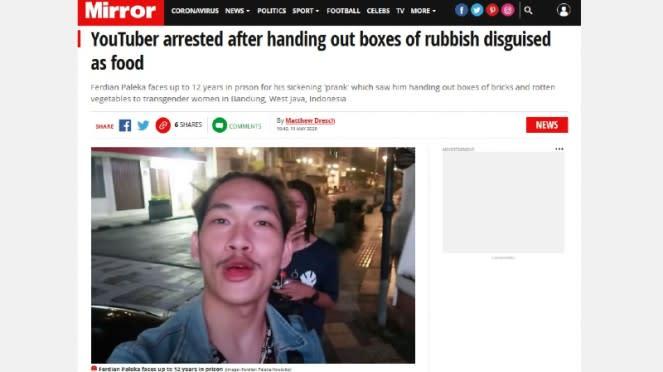 Kontroversi YouTuber Ferdian Paleka diberitakan media Inggris, Mirror
