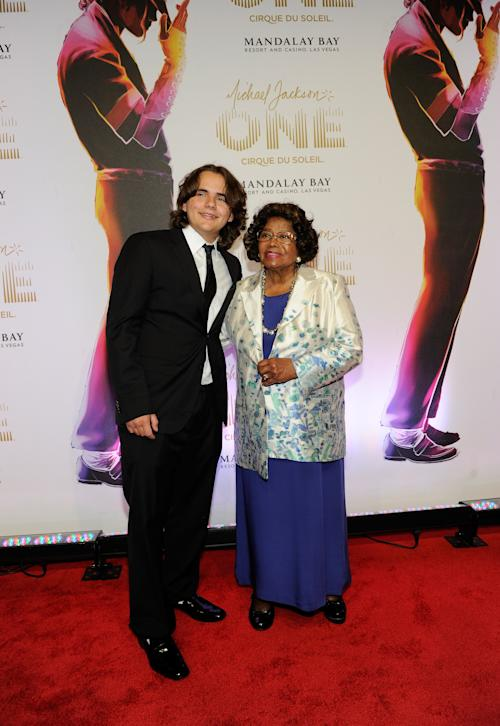 "FILE - In this June 29, 2013 file photo, Prince Jackson, left, and Katherine Jackson arrive at the world premiere of ""Michael Jackson ONE"" at THEhotel at Mandalay Bay Resort and Casino, in Las Vegas. A Los Angeles jury will have to considering how much to award Jackson's three children and mother if they determine that concert promoter AEG Live LLC hired the doctor convicted of causing the superstar's June 2009 death. Deliberations are expected to begin on Thursday, Sept. 26, 2013, after a 21 week trial that has revealed many of Michael Jackson's ambitions, including a new career in filmmaking. (Photo by David Becker/Invision/AP, File)"