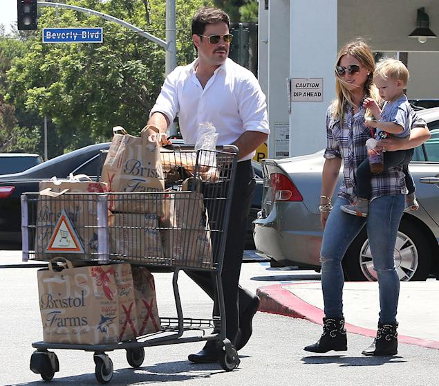 Hilary Duff and family go grocery shopping at Bristol Farms in Beverly Hills