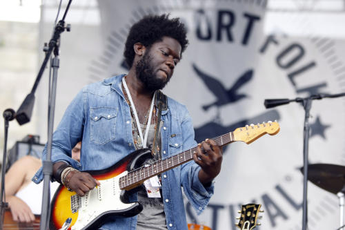 Michael Kiwanuka performs at the 54th edition of the Newport Folk Festival in Newport, R.I., on Sunday, July 28, 2013. (AP Photo/Joe Giblin)