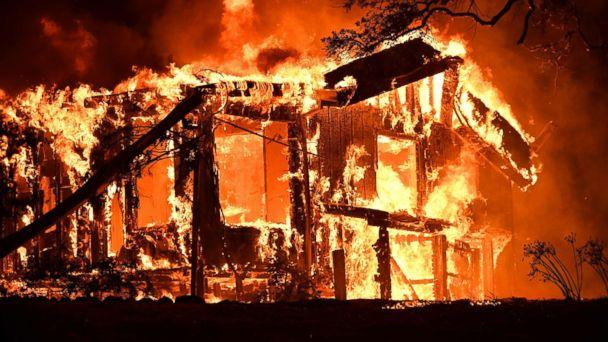 PHOTO: Flames ravage a home in the Napa wine region in California, Oct. 9, 2017, as multiple wind-driven fires continue to whip through the region. (Josh Edelson/AFP/Getty Images)