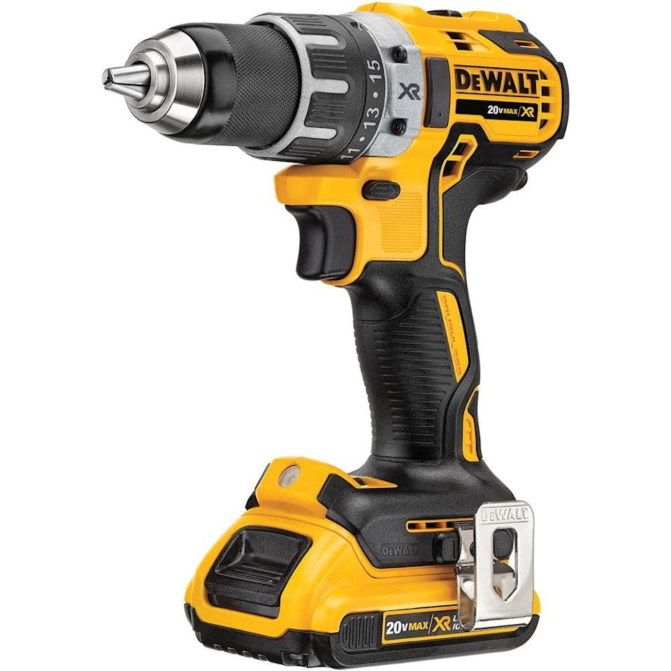 "<p><strong>DeWalt</strong></p><p>homedepot.com</p><p><strong>$179.00</strong></p><p><a href=""https://go.redirectingat.com?id=74968X1596630&url=https%3A%2F%2Fwww.homedepot.com%2Fp%2FDEWALT-20-Volt-MAX-XR-Lithium-Ion-Cordless-1-2-in-Brushless-Compact-Drill-Driver-with-2-Batteries-2Ah-Charger-and-Hard-Case-DCD791D2%2F206523964&sref=https%3A%2F%2Fwww.goodhousekeeping.com%2Fhome-products%2Fg32318062%2Fbest-cordless-drills%2F"" target=""_blank"">Shop Now</a></p><p>The DeWalt ½-inch 20-volt lithium-ion cordless drill is a favorite with consumers. Our reviewers commented on the power this brushless drill packs. The long battery life makes it easier to complete a task in one go — the easy-to-read fuel indicator lets you know how much charge is left. Many users found the integrated LED light (especially the 20-minute spotlight mode) to be extremely useful. The comfortable grip, lightweight design, and compact size make it ideal for drilling and screw-driving in tight spaces. It even has a hammer action for masonry work. </p><p><strong>Max RPM:</strong> 2,000<strong><br>Chuck:</strong> ½-inch</p>"