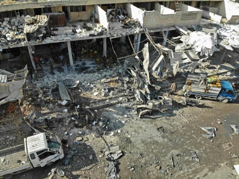 An aerial view shows the destruction following a regime air strike in a market in the town of Maaret al-Numan in the Syrian province of Idlib
