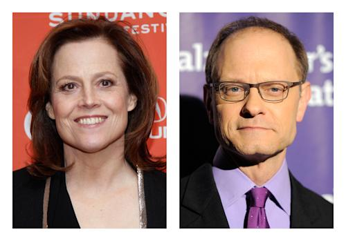 "FILE - This combination of 2012 file photos shows actors Sigourney Weaver, left, and David Hyde Pierce. Weaver and Pierce are teaming up to play siblings as both make a return to the stage in a Chekhov-inspired play, Christopher Durang's ""Vanya and Sonia and Masha and Spike,"" for a 17-week limited engagement begining Tuesday, March 5, 2013 at Broadway's Golden Theatre in New York. (AP Photo/Danny Moloshok, Chris Pizzello)"