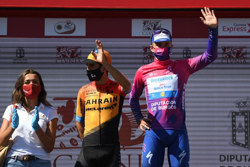LAGUNAS DE NEILA SPAIN AUGUST 01 Podium Mikel Landa Meana of Spain and Team Bahrain McLaren Remco Evenepoel of Belgium and Team Deceuninck QuickStep Purple Leader Jersey Celebration during the 42nd Vuelta a Burgos 2020 Stage 5 a 158km stage from Covarrubias to Lagunas de Neila 1872m VueltaBurgos on August 01 2020 in Lagunas de Neila Spain Photo by David RamosGetty Images