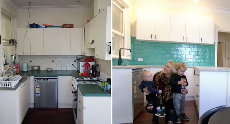 Pictured is the family kitchen before and after the renovations.