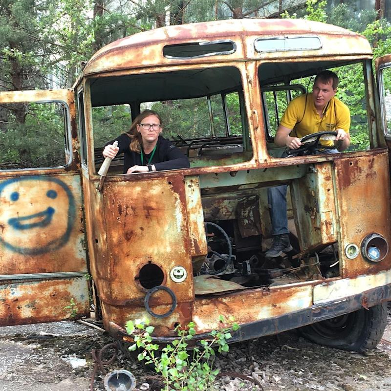 Fan favourites for the perfect pic included pretending to drive a burned-out bus at the Chernobyl disaster in northern Ukraine.