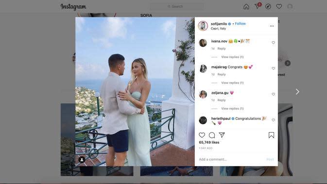 Luka Jovic Melamar Pasangannya Sofia Jamilo ( Instagram/@sofiajamilo )