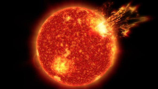 Ilustrasi badai Matahari (NASA's Goddard Space Flight Center/Genna Duberstein).