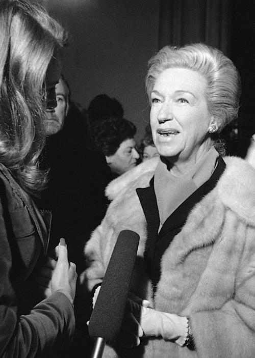 FILE - In this Oct. 17, 1977 file photo, mezzo-soprano Rise Stevens attends a memorial for Bing Crosby at St. Patrick's Cathedral in New York. Stevens, who sang with the Metropolitan Opera for more than 20 years spanning the 1940s and 1950s, died on Wednesday, March 20, 2013 at her Manhattan home. She was 99. (AP Photo/Suzanne Vlamis, File)