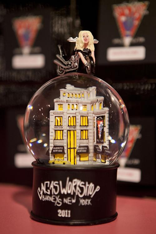 A snow globe is displayed at Gaga's Workshop, a collaborative fashion and lifestyle project between Lady Gaga and Barney's New York, at the Barney's store on East 60th Street in New York on Monday, Nov. 21, 2011. (AP Photo/Andrew Burton)