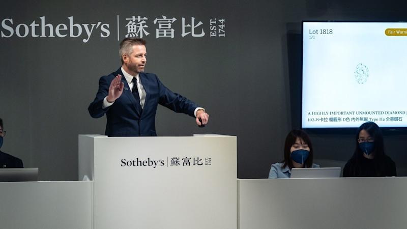 Flawless 102-carat diamond sells for more than HK$120 million at Sotheby's auction in Hong Kong