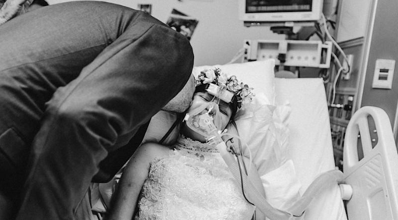 Florida US couple Joey Williams and cancer patient Nina Marino married in hospital days before she died.