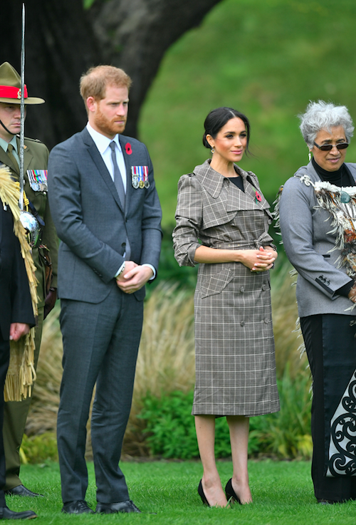 <p>She also decided to change her hair into an up do, slightly better suited to the cooler and windier conditions. Photo: Getty </p>