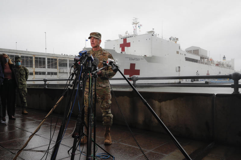 United States Air Force General Terrence O'Shaughnessy, commander of the United States Northern Command, speaks to reporters before the departure of the USNS Naval Hospital Ship Comfort, Thursday, April 30, 2020, in the Manhattan borough of New York. (AP Photo/John Minchillo)