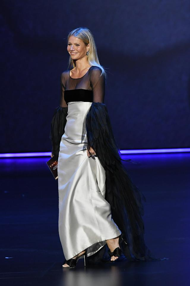 The Goop founder walked on stage in a silk and mesh Valentino number. [Photo: Getty]