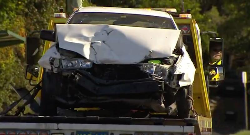 The boy, 15, was allegedly behind the wheel of a stolen car, which crashed into a home at Stafford on Saturday about 2am. Source: 7 News