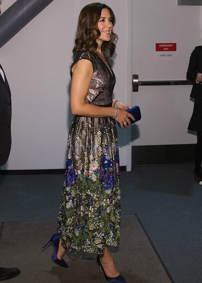 """<p>As seen here where she is picking up the blue undertones of her dress Princess Mary, """"always gets her shoes, jewellery and bag choice just right,"""" according to fashion expert and celebrity stylist Alex Longmore. Source: Getty </p>"""