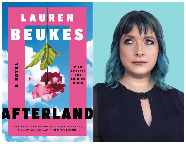 """This combination of photos shows the cover of the novel """"Afterland,"""" left, and a portrait of author Lauren Beukes. Novels coming out now and written before the coronavirus pandemic use plagues to explore everything from gender roles to our own failure to anticipate the worst.  (Mulholland Books, left, and Tabitha Guy via AP)"""