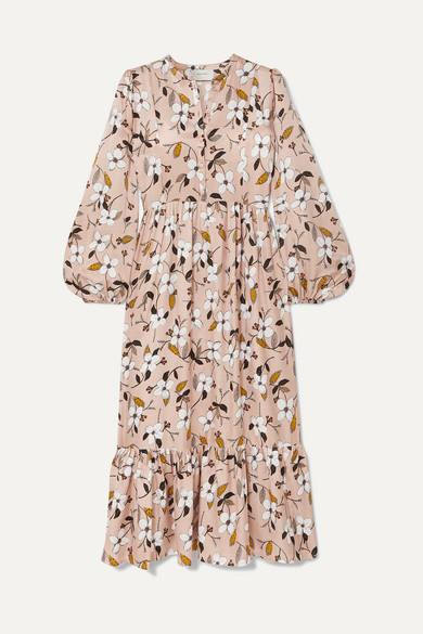 Munthe Tiered Floral Satin Midi Dress