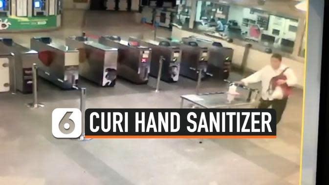 VIDEO: Rekaman Penumpang Curi Hand Sanitizer di Stasiun Kereta