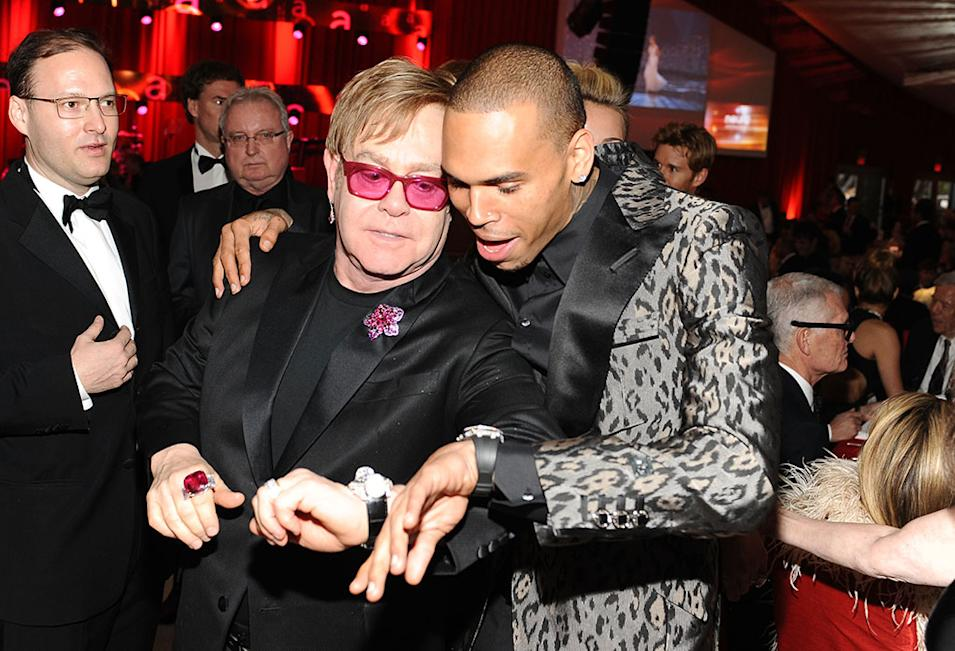 Chopard At 21st Annual Elton John AIDS Foundation Academy Awards Viewing Party: Sir Elton John and Chris Brown