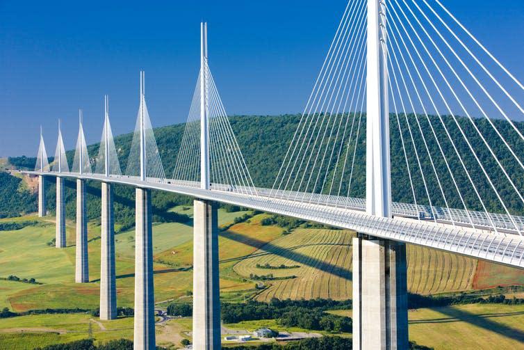 A large suspension bridge across a valley
