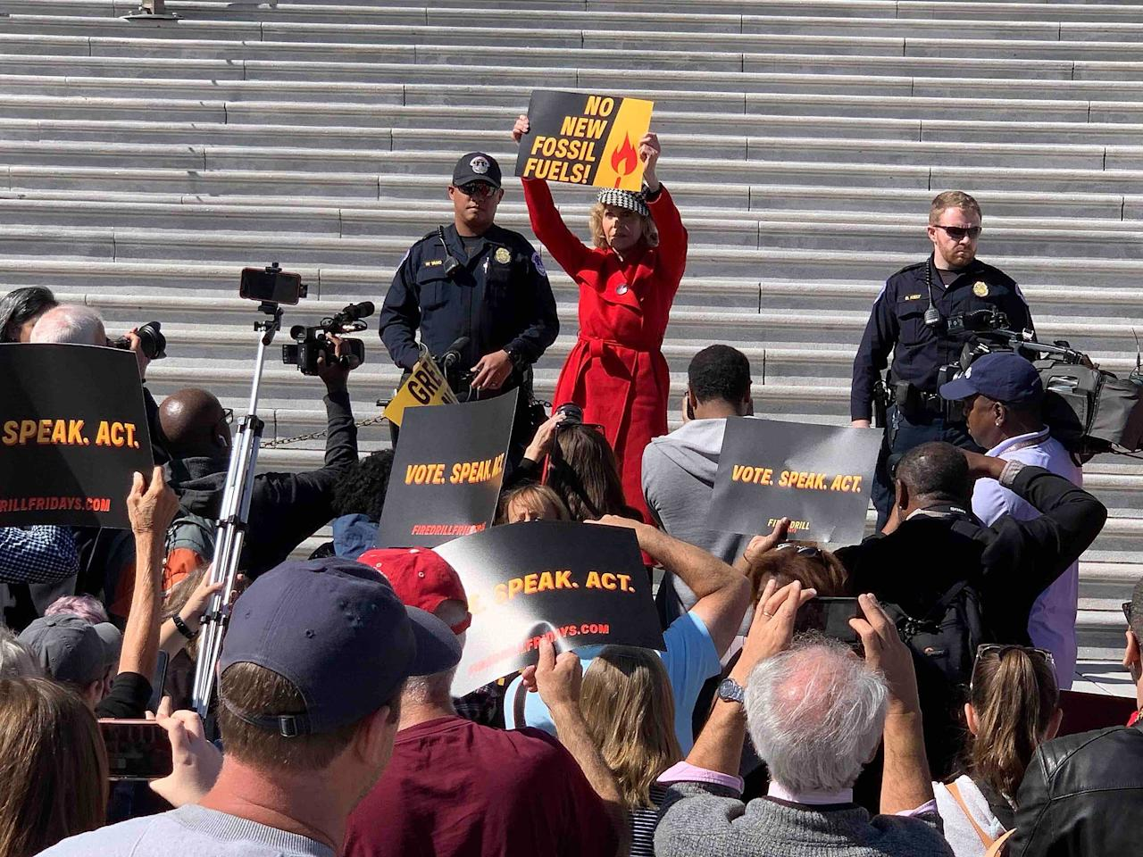 """The 81-year-old actress was arrested on the steps of the United States Capitol while protesting against climate change on Friday, Oct. 11, 2019.  Fonda had been open about the fact that she planned to be arrested, saying that she would be protesting for the next 14 Fridays. She told <em>The Washington Post</em>, """"I'm going to take my body, which is kind of famous and popular right now because of the [Netflix] series [<em>Grace and Frankie</em>] and I'm going to go to D.C. and I'm going to have a rally every Friday.""""  The actress added, """"It'll be called 'Fire Drill Friday.' And we're going to engage in civil disobedience and we're going to get arrested every Friday.""""  As predicted, <a href=""""https://people.com/crime/jane-fonda-sam-waterston-arrested-capitol-climate-change/"""">she was arrested again</a> on Oct. 18, this time, reportedly, with fellow actor Sam Waterston. Before her arrest, Fonda spoke about her mission, and praised the proposed<a href=""""https://people.com/politics/alexandria-ocasio-cortez-burlesque-show-green-new-deal-chants/"""">Green New Deal</a>, an ambitious legislative undertaking to address climate change.  """"This will be a huge, disruptive, super-ambitious undertaking. And yes, it's going to cost a whole lot of money. But the cost of inaction is even huger.""""  Fonda is no stranger to standing up for what she believes in: she <a href=""""https://www.washingtonpost.com/news/retropolis/wp/2017/09/18/how-jane-fondas-1972-trip-to-north-vietnam-earned-her-the-nickname-hanoi-jane/"""">was active in the Black Panthers</a> in the early '70s, and famously garnered both praise and criticism over the years for her anti-Vietnam War stance."""